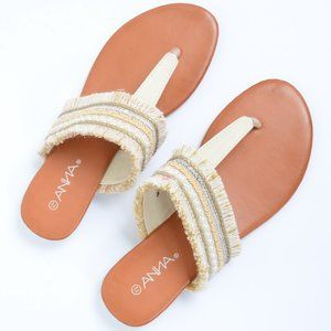 Off White Pearls Frayed Thong Wedge Summer Sandals
